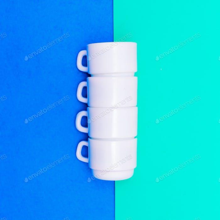 Set of coffee cups. Minimal art design