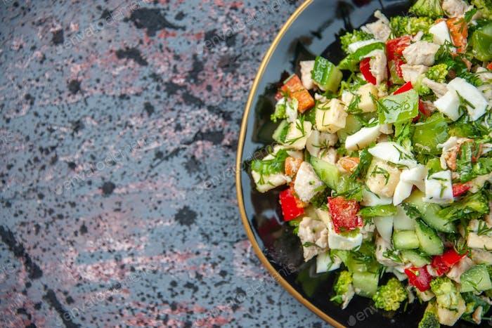 top closer view tasty vegetable salad inside plate on dark background cuisine lunch restaurant