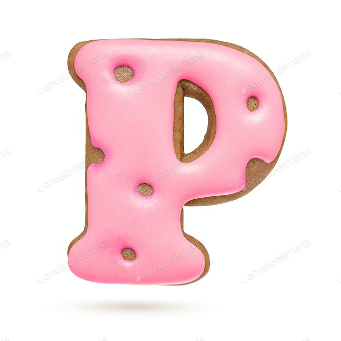 Capital letter P. Pink gingerbread biscuit isolated on white.