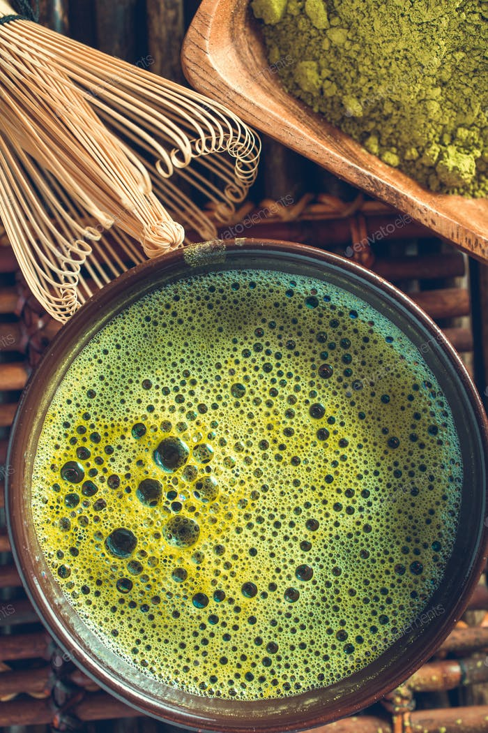 Organic green matcha tea closeup