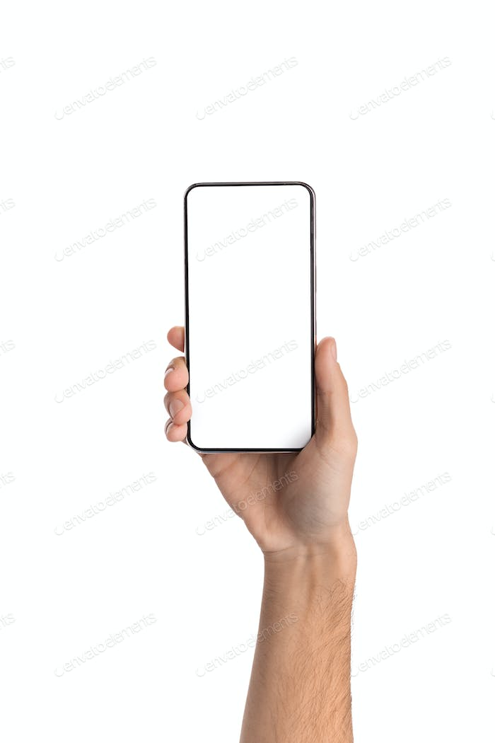 Smartphone with blank screen in male hands over white background