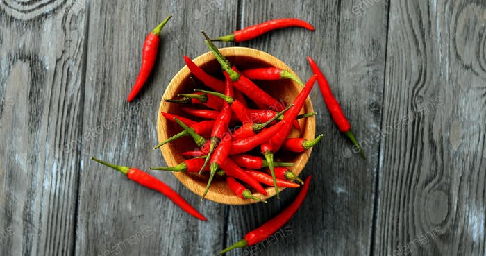 Bowl of ripe chili peppers