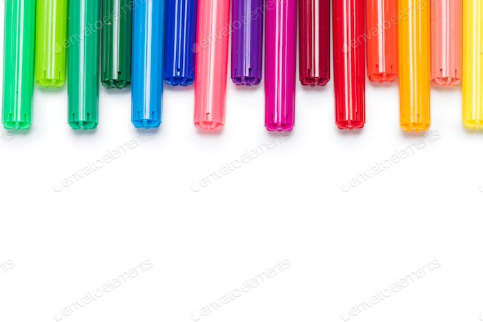 Close-up view of set of colorful felt tip pens isolated on white