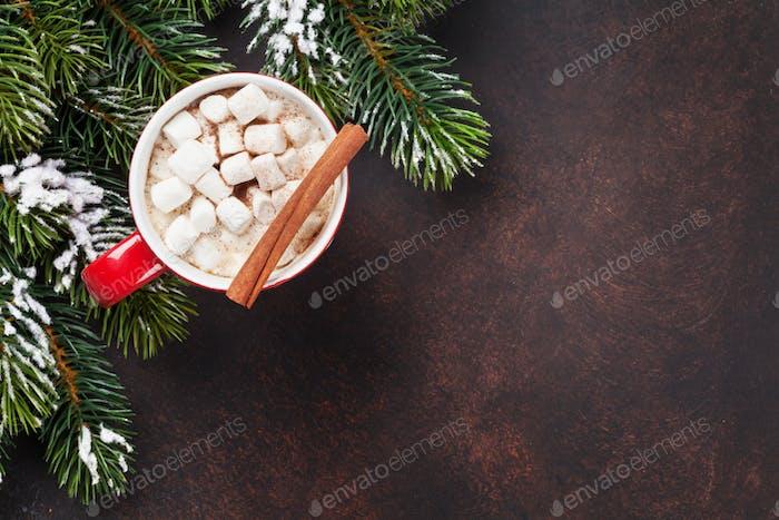 Weihnachten Hintergrund mit heißer Schokolade