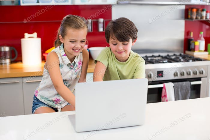 Smiling siblings using laptop in kitchen