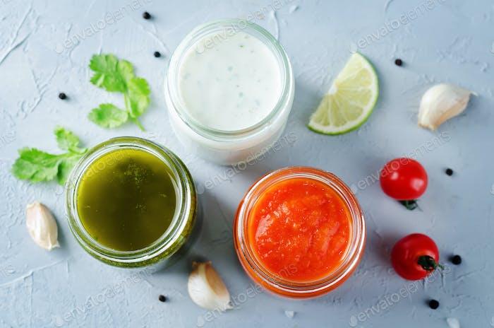 Variation von Saucen für Fleisch, Geflügel oder Fisch