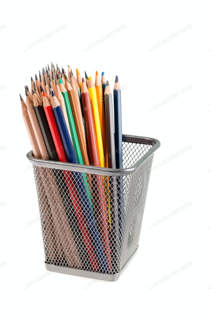 color pencils in metal pot