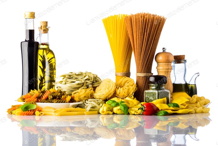 Pasta Types and Cooking Ingredients on White Background
