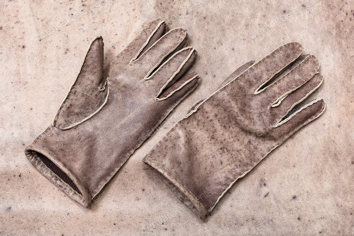 new hand-made gloves on original natural leather