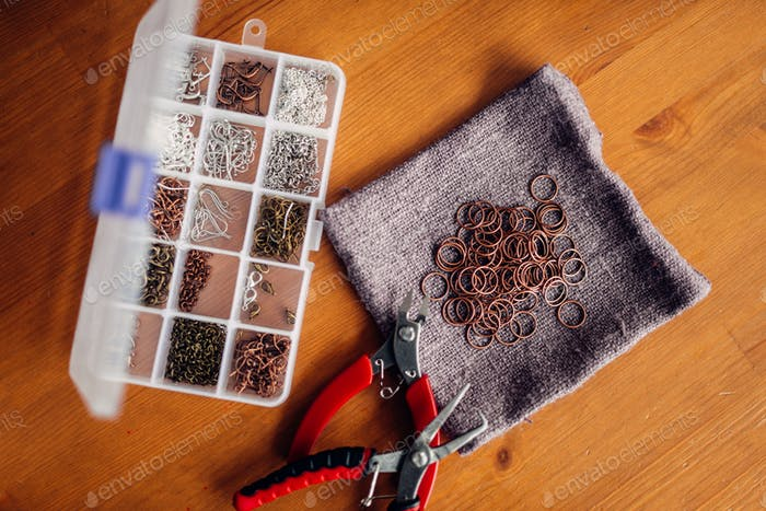 Accessories for needlework and pliers, top view