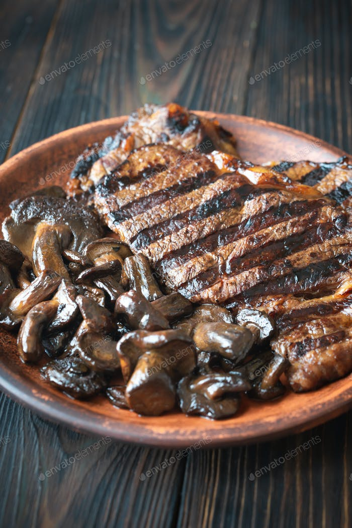 Beef steak with porcini mushrooms