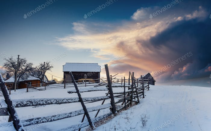 Fantastic winter landscape, the steps that lead to the cabin