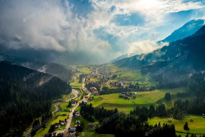 Sappada Italy North-Eastern corner of the Dolomites Alps. Aerial