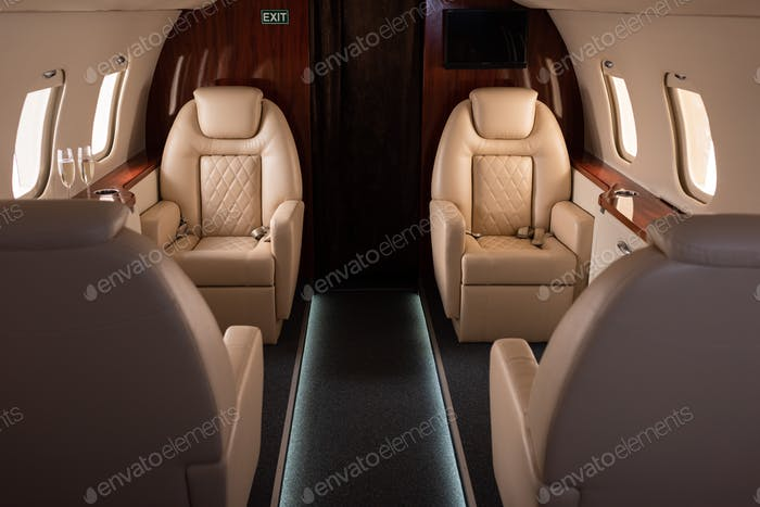 interior on plane with champagne for trip