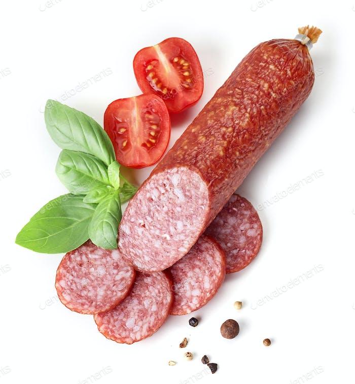 salami sausage on white background