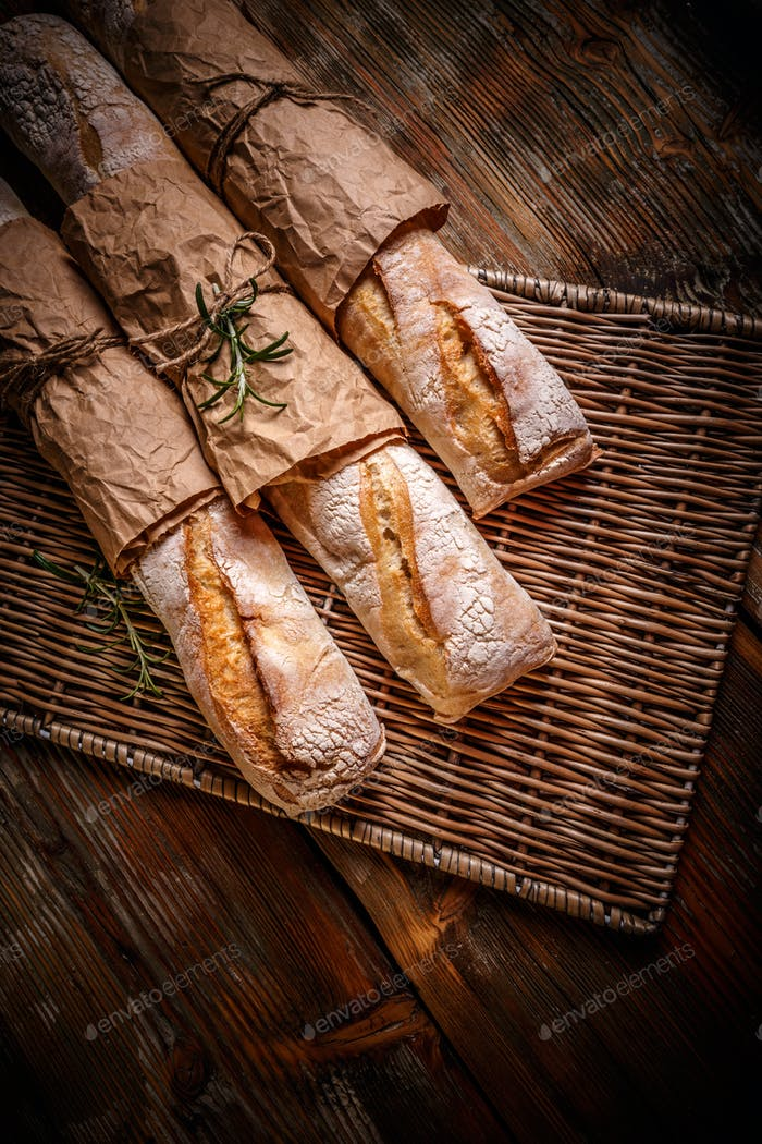 Freshly baked traditional baguettes
