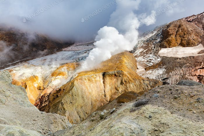 Crater Active Volcano, Mountain Landscape: Hot Spring and Fumarole, Geothermal Gas-Steam Activity