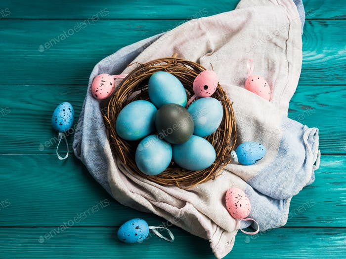 Blue painted easter eggs in nest, holiday celebration