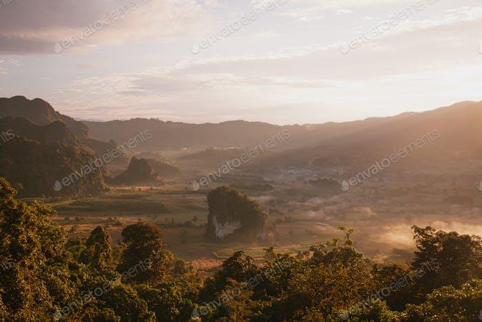 Landscape. Beautiful sunrise at Phu Lang Ka, Phayao in Thailand