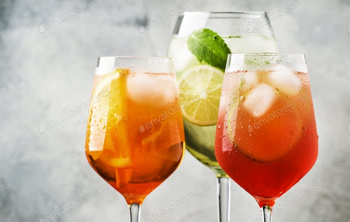 Set of summer Italian alcoholic cocktails