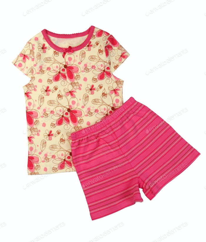 Children's yellow T-shirt and pink shorts set.