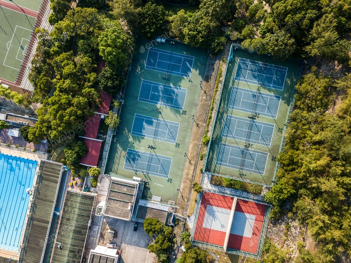 Top view of tennis court