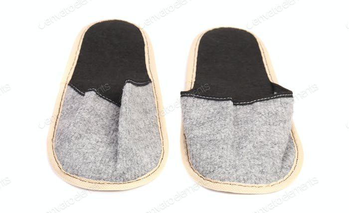 Pair of gray slippers.
