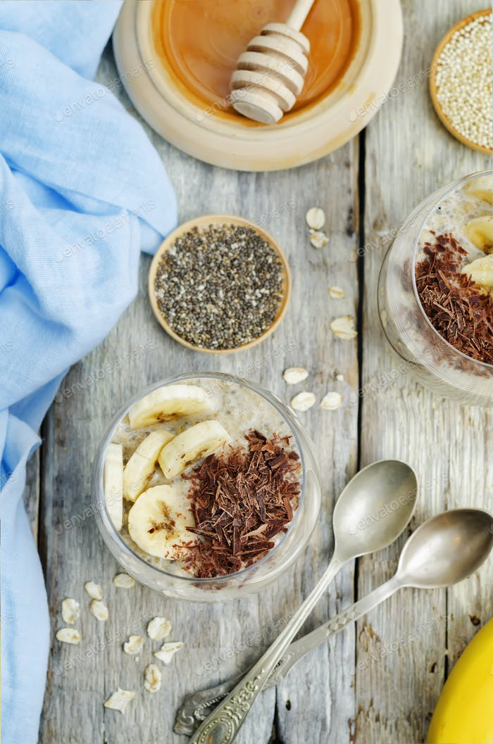 Overnight banana oats quinoa Chia seed pudding decorated with fr