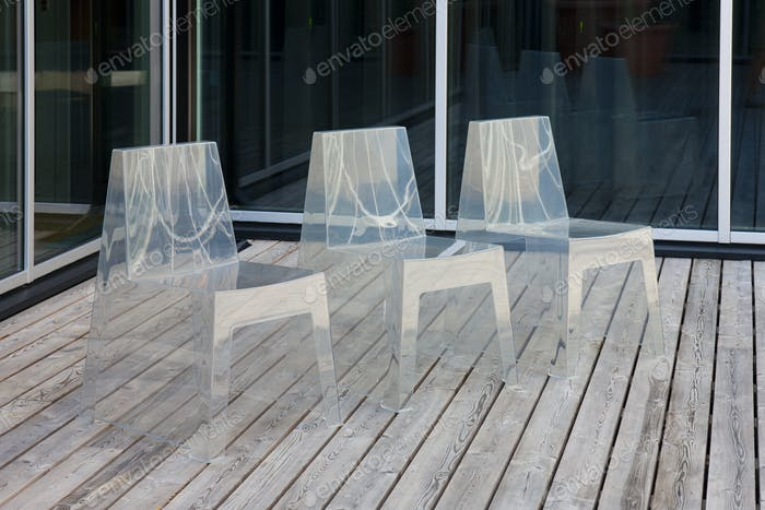 Row of Modern Translucent Chairs