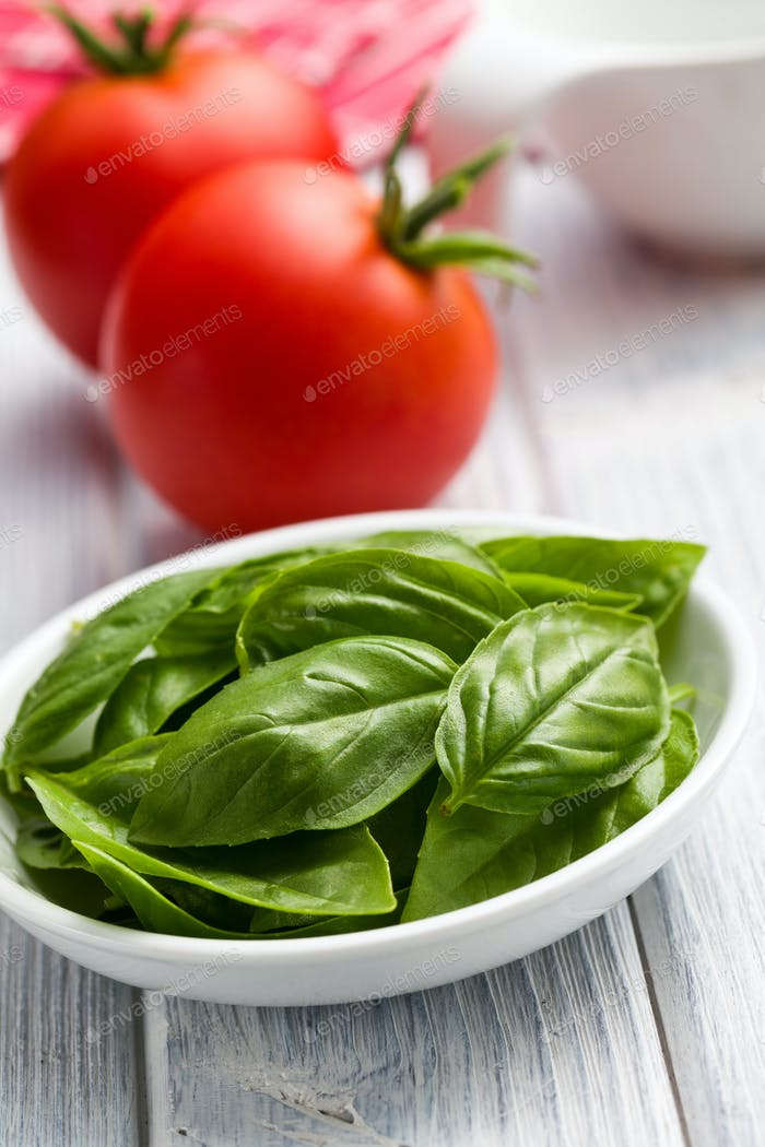 fresh basil leaves and tomatoes