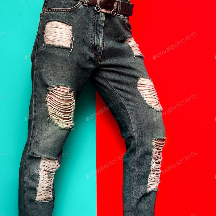 Torn Jeans Fashion Design Stylish Minimal Clothing