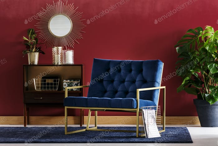 Blue armchair with golden frame