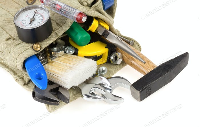 tools in belt bag isolated on white