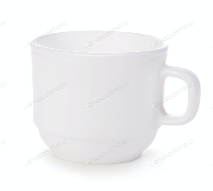 White cup close-up isolated on a white background.