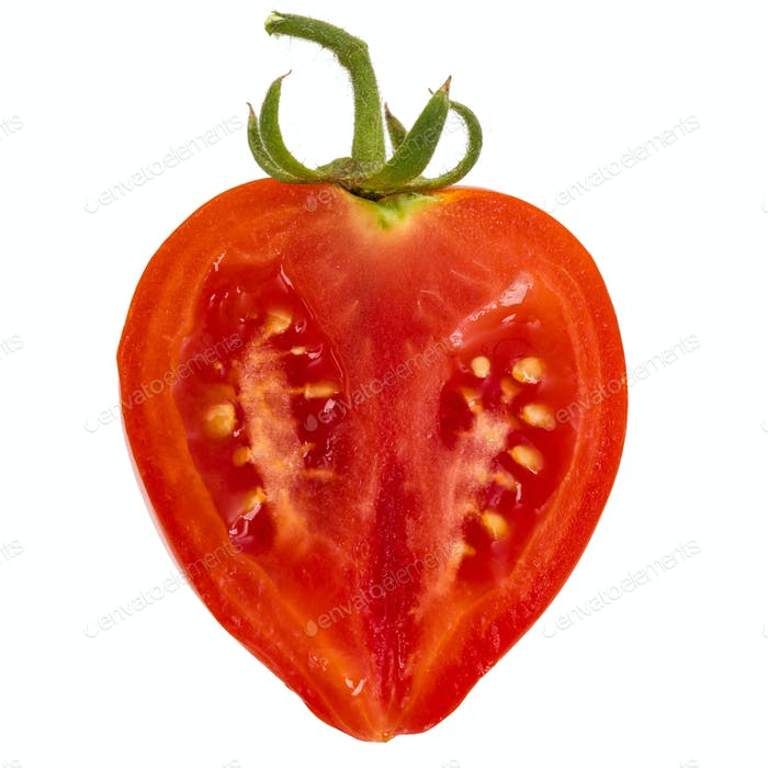 Thin slice of fresh tomato, isolated on white background