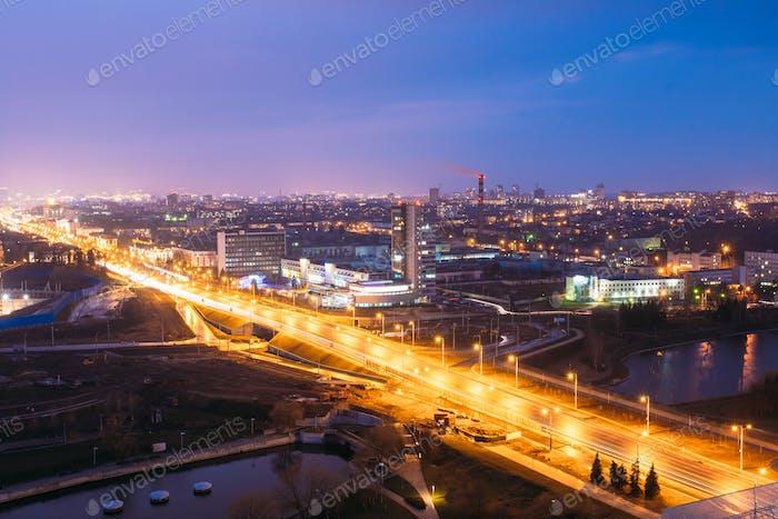 Minsk, Belarus. Aerial View Cityscape In Bright Blue Hour Evenin