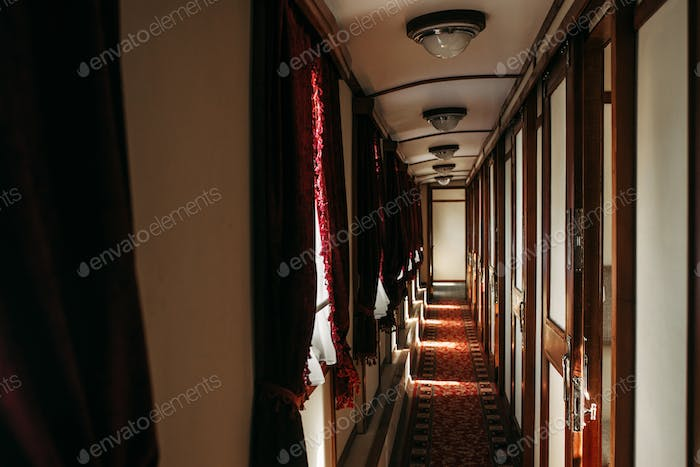 Vintage train, rich retro wagon interior, nobody