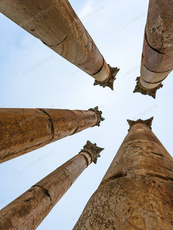 Corinthium column of Temple of Artemis in Jerash