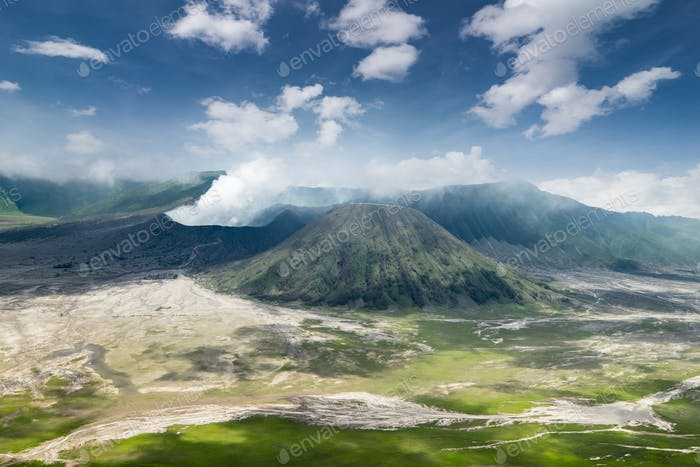 Mount Bromo erupting volcano. East Java, Indonesia