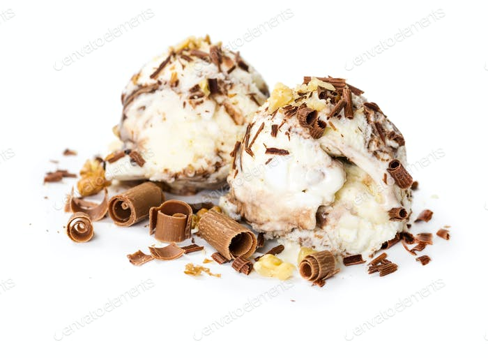 Scoops of ice cream with chocolate chips
