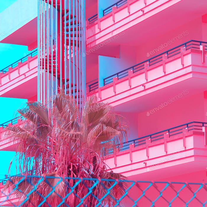 Minimal Urban Pink. tropical palm trees. Art fashion