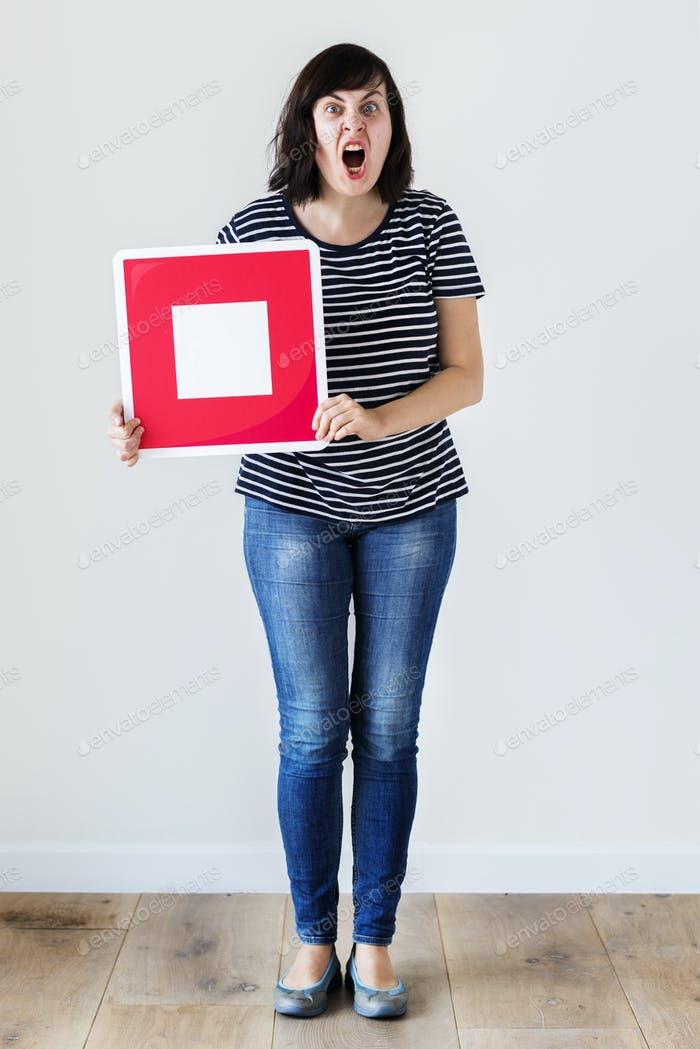 Caucasian woman holding a red stop icon