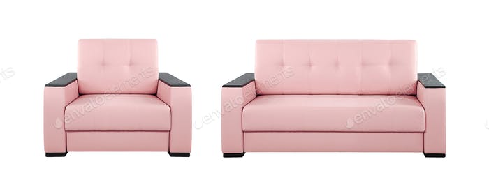 Pink sofa and armchair