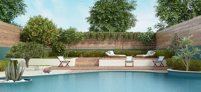 Garden on two levels with large pool and lush vegetation