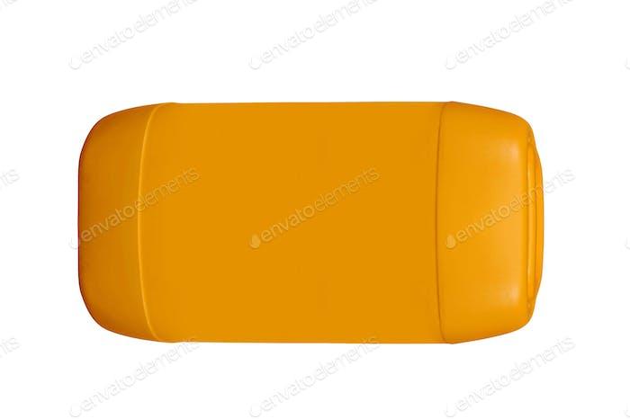 Orange plastic jerrycan on white background