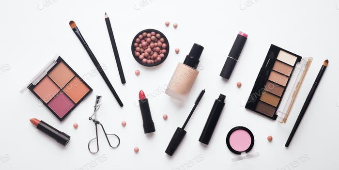 Set of professional decorative cosmetics for daily makeup
