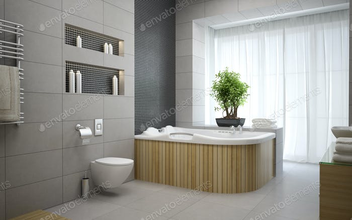 Interior of the modern design  bedroom 3D rendering 4