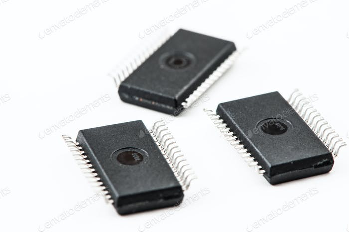 Electronic IC on a light background