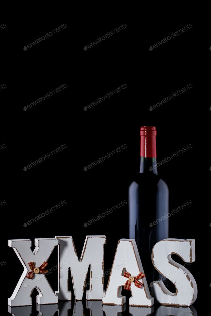 Christmas  Bottle of Red Wine