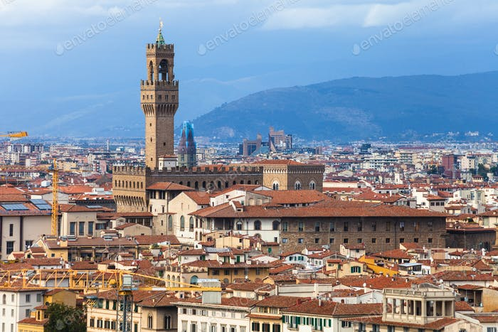 skyline of Florence town with Palazzo Vecchio